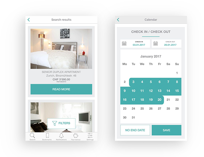 App's features - Search for apartments