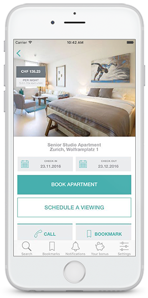 VISIONAPARTMENTS Mobile App - search for apartments
